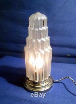 Lampe Veilleuse Building Moderniste Skyscraper Gratte Ciel 1930 Socle Nickele