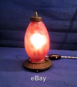 Lampe Veilleuse Signe Orfear Made In France Tulipe Pte De Verre Socle Bronze