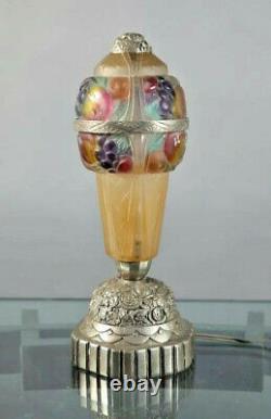 Lampe art déco pate verre et verre pressé sur métal argenté modèle UNIQUE