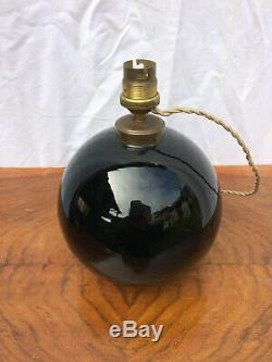 Lampe boule opaline noir Jacques Adnet 1930