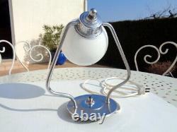 Lampe de Table Art Déco Chrome Moderniste Bauhaus Adnet Egon Hillebrand