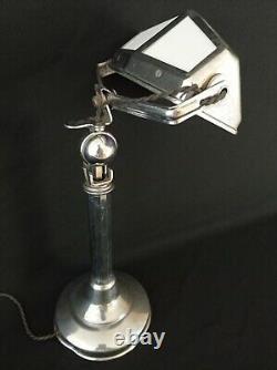Lampe de bureau Pirouett Art Déco 1930 / Verres Mauves Et Blancs / Chromé