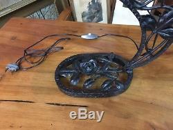 Lampe de piano table 1930 Muller Frères fer forgé pâte de verre décor feuilles