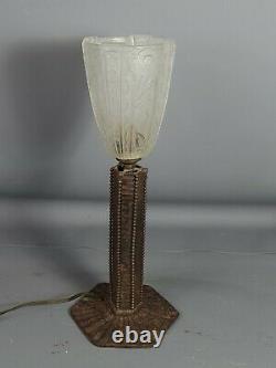 Lampe de table Art déco fer forgé & verre pressé moulé H 36 cm SB