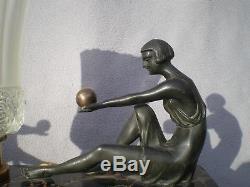 Lampe sculpture art deco 1920 statue femme vintage table lamp 30s woman figurine