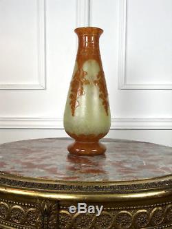 Le Verre Français Vase D'époque Art Déco En Verre Multicouche Signé De 42 CM H