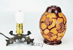 Le Verre Français Veilleuse Brûle-Parfum Epinette Schneider Lampe vase Gallé
