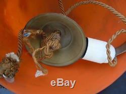 Le Verre Français lustre vasque suspension obus pate verre signé croix Lorraine