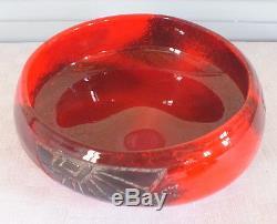 Legras coupe pate de verre art déco rouge signé