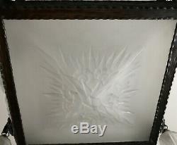 Lorrain lustre en verre moulé pressé et fer forgé Art Déco vers 1930