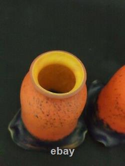 Lot Trois Tulipes en pate de verre signées A FRANCE noverdy