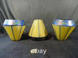 Lot de trois tulipes art déco verre peinture émaillée pour lampe lustre