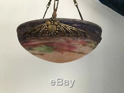 Luminaire, Lustre, Suspension art nouveau pâte de verre MULLER Frères Lunéville