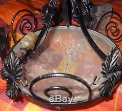 Lustre 1930's verre pressé moulé André Guéron Degué Ros décor aux raisins