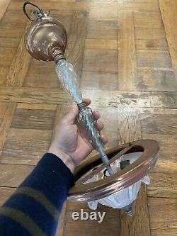 Lustre Ancien Art Deco Verre Design Moderniste Cuivre Lampe Lamp
