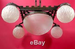 Lustre Art Deco 1920 vasque 4 globes /Chandelier Art Deco 1920 basin & 4 globes