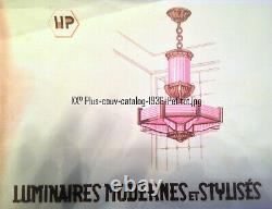 Lustre Art Déco Moderniste Octogonal Petitot Bronze Nickelé et Verre sablé