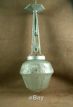 Lustre Art Deco Obus Verre Moule Presse Signe Muller Freres Luneville