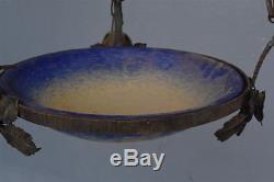 Lustre Art déco 1930 en fer forgé et pate de verre Schneider