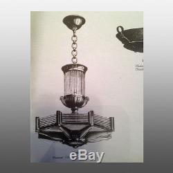 Lustre Art deco moderniste signé Petitot Original chandelier signed