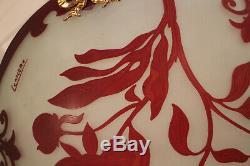 Lustre Art déco verre double couche dégagé à l'acide signé Lemière
