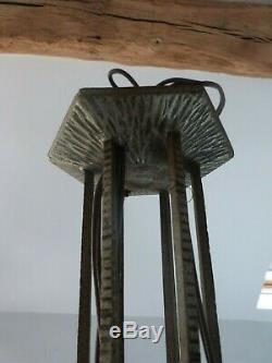 Lustre Muller frères Lunéville bronze nickelé & verre pressé moulé Art Déco 1930