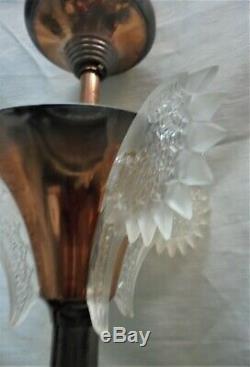 Lustre Plafonnier Verre Glaçon Fleurs Signé Ezan Art Deco Dn1786