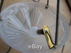 Lustre Suspension Art Déco coupe verre monture laiton Muller Degué Noverdy