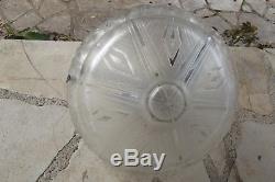 Lustre Vasque signé Gilles R en verre pressé-moulé époque art déco bronze argent