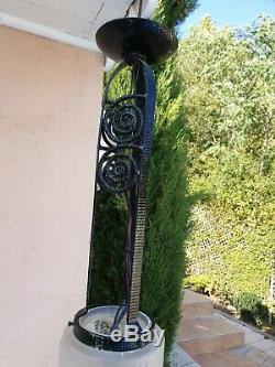 Lustre ancien art deco monture fer forgé et verrerie en verre pressé superbe