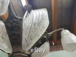 Lustre art deco à plaque verre moule bronze j. Robert des hanots muller maynadier