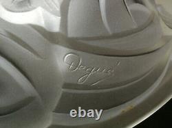 Lustre art deco pate de verre degué 40 cm de diamètre