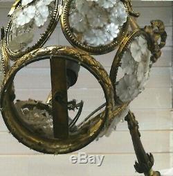 Lustre art déco rosaces pâte de verre bronze 4 feux maison Bagues