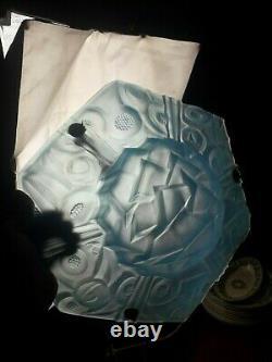 Lustre art déco signée Degué suspension vasque pâte de verre bleu