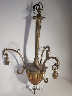 Lustre en bronze Majorelle et patte de verre Daum Nancy art deco 1930