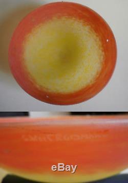 Lustre en pâte de verre et fer forgé signé CROISMARE