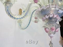 Lustre murano a 6 lumieres en verre bleu opalescent et pate de verre rose