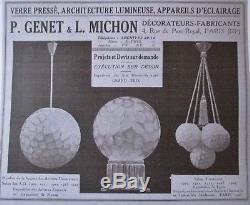 Lustre plafonnier Art Déco moderniste Genet & Michon Paris ERA Muller Daum