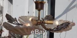 Lustre plafonnier bronze verre dépoli coquille pâte de verre style Art déco
