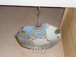 Lustre plafonnier suspension vasque en verre peint de LOYS LUCHA époque art déco