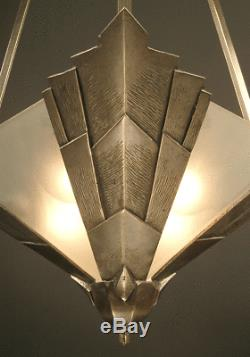 Lustre-suspension Art Déco En Bronze Et Laiton Vieil Argent, Verre Dépoli