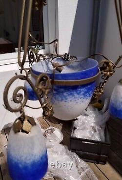 Lustre suspension fer forgé pâte verre Art Déco Muller Degué Luneville 20ème