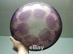 Lustre vasque coupe art deco en pate de verre degage a l acide le verre francais