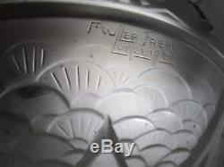 Lustre vasque verre pressé-moulé MULLER FRÈRES Art Déco monture bronze nickelé