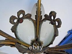 Lustre verre tulipes J. Robert époque Art Deco chandelier