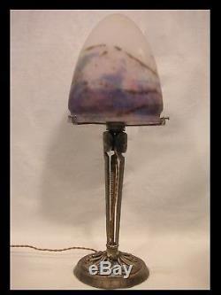 MULLER FRERES GRANDE LAMPE BRONZE ARGENTÉ PATE DE VERRE ART DÉCO lamp