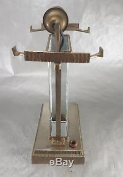 MULLER FRERES LUNEVILLE & VASSEUR RARE LAMPE de TABLE ART DECO VERRE BRONZE 1920