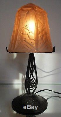 MULLER FRÈRES PETITE LAMPE ART DÉCO FER FORGE OBUS Verre pressé 1930