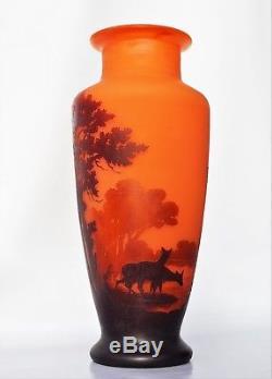 MULLER Frères Lunéville IMPORTANT Vase AUX BICHES Pâte de Verre Gravé 34 cm