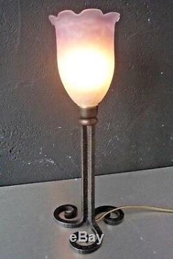 MULLER LAMPE ART NOUVEAU-PATE DE VERRE-fer forgé art deco-daum-gallé-brandt-kiss